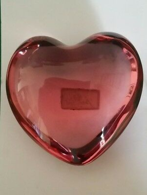 Baccarat Pink Heart Shaped Paperweight