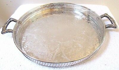Vintage Silver Plate Gallery Tray Serving Butler Chased Display Floral Handles