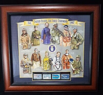 United States Post Office Framed Stamp Collection  Air Force Uniform Series