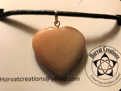 Rose Quartz Loveheart necklace Crystal~Wicca~Pagan~Reiki~Free Spirit