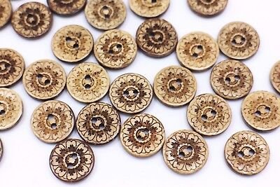 Flower Coconut Buttons Brown Floral Pattern Two Holes Natural Round 15mm 20pcs