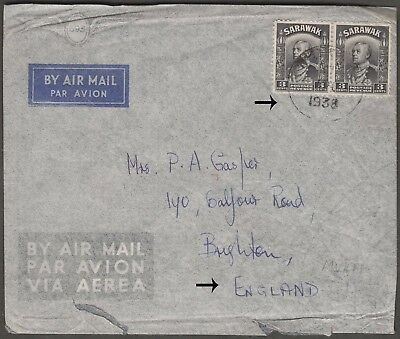 SARAWAK 1938 3c PAIR FROM KUCHING ON AIRMAIL COVER TO ENGLAND