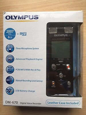 Olympus DM-670 Digital Voice Recorder + Leather case included