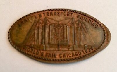 1934 Chicago Worlds Fair Elongated Penny 1917 Travel & Transport Building