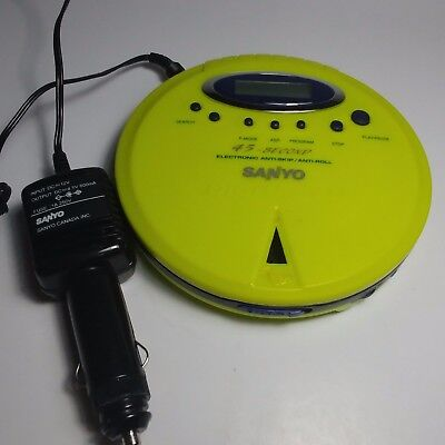 SANYO CDP242 Portable CD Player Anti Skip Anti Roll Yellow With Car Power Supply