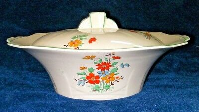 Alfred Meakin Pottery Princess shape, Marigold, Serving bowl and lid, 10 inch.