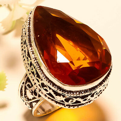 Golden Topaz Vintage Style Gemstone 925 Sterling Silver  Jewelry Ring 8