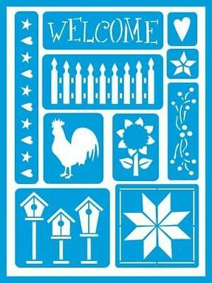 Deco Art AMERICANA GLOSS ENAMELS Re-usable stick on Stencil COUNTRY AGS210 Hen