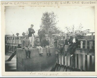 Berkshire, Eaton Hastings, G.w.r. Lab (Swindon) Group Outing 1901, Photo On Card