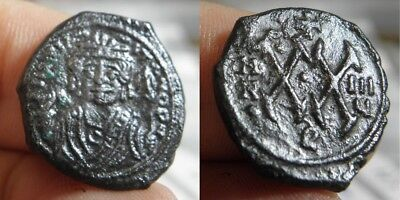 71AM Byzantine - MAURICE TIBERIUS  582-602 A.D. -1/2 FOLLES - DATED