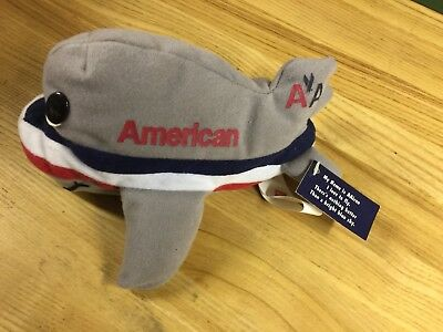 American Airlines Plush Airplane AAiron Stuffed Toy Pane, With Tag