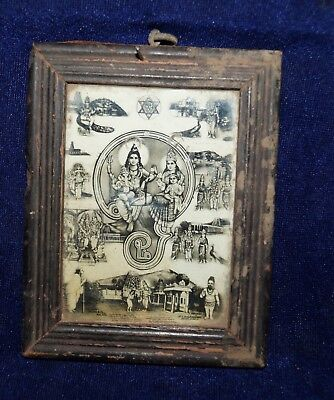 antique lord shiva and paravati and ganesh and other hindu god  print wood fram
