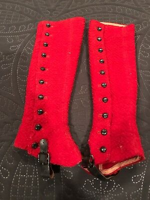 Antique Children's Child Boot Covers Spats Red Leather Wool