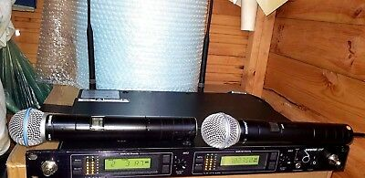 Shure Beta Sm58A *twin Set* Wireless Microphones Rackmount All Tested & Working.