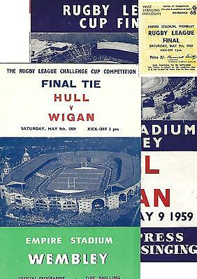 RL Challenge Cup Final WEMBLEY 1959 HULL v WIGAN programme, ticket & songsheet