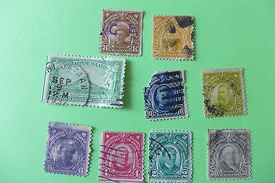vintage Lot of 9 early Philippines stamps
