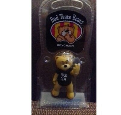 Bad taste bear  -vic- black , unsensored - keyring / keychain -in packing etc -