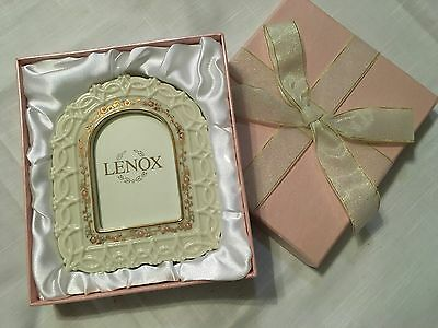 """Lenox Dainty Flowered Picture Frame New In Box (2 1/2"""" x 3 3/8"""")"""