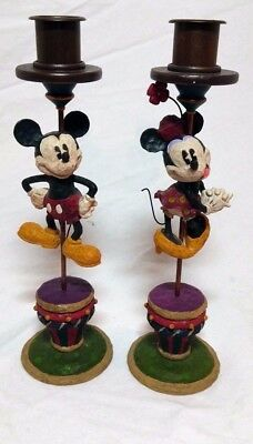 Mickey Mouse Minnie Mouse Taper Candle Holders Auth Disney Parks Retired Rare