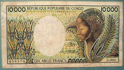 Congo 10000 10 000 Francs Note  From 1983, P 7 , Signature 12