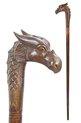 Dragon wooden walking stick / cane - Hand carved from hardwood - BOXED item