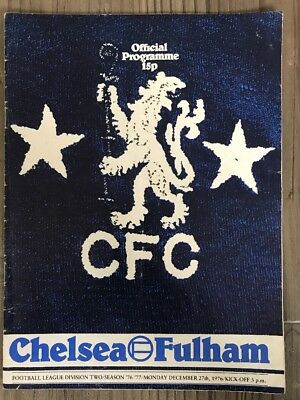 Chelsea V Fulham Football Programme 1976. Chelsea Football Program.