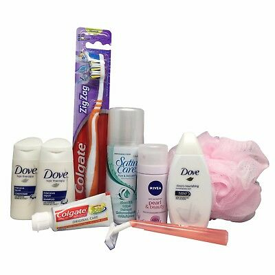 Womens travel size toiletries set in airport approved bag for hand luggage- Dove