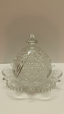 Vintage Clear Glass Butter Dish With Cover