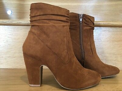 Faux Suede Brown Tan Ankle Boots Sizes 3-7 And 9 Block Heel Dorothy Perkins New