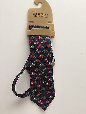 NWT!  Boy's Christmas Tie with Truck and Tree, 100% Silk, By Class Club