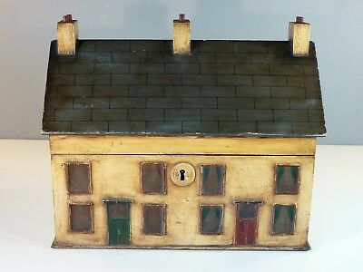 Antique 19th Century Very Rare Painted Country Cottages Double Tea Caddy