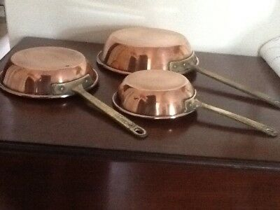 Three small copper frying pans/sauce pans
