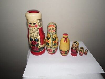 6 in 1 WOODEN NESTING MATRYOSHKA DOLL GENUINE RUSSIAN CHRISTMAS XMAS