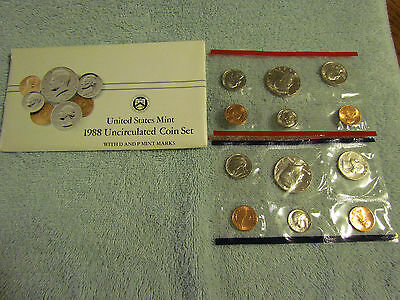 1988 US Mint Set P and D Original Envelope 10 Coins Kennedy Washington