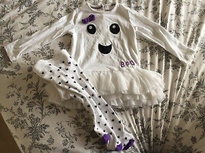 F&F Baby Girl White Ghost Halloween Dress Tutu & Tights 12-18 Months