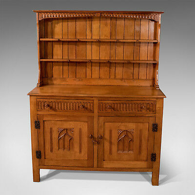 Antique Oak Kitchen Display Dresser Cabinet English Art Deco Period Mid-20th C
