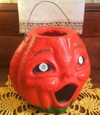 NEAR MINT Vintage Halloween Paper Mache Pulp JOL / Candy Container ca. 1950s-60s