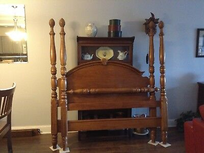 solid maple queen bed with wood rails