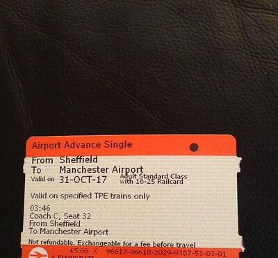 Sheffield to Manchester Airport 31.10.2017 Rail card needed