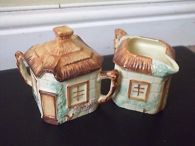 Keele St. Pottery Cottage Ware Milk Jug & Sugar Bowl With Lid - Hand Painted