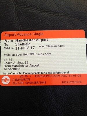 Manchester Airport to Sheffield 11.11.2017