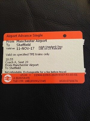 Manchester Airport to Sheffield 11.11.2017 Rail card needed