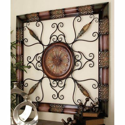 Large Square Elegant Rustic Tuscan Scrolling Metal Old World Wall Art Plaque NEW