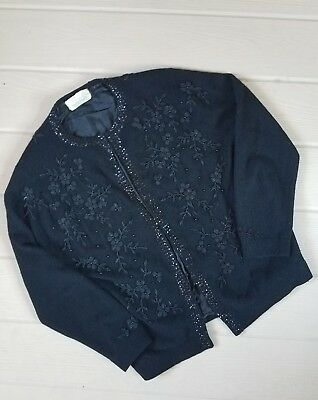 Vintage 60s Black Floral Beaded Angora Blend Pin Up Cardigan Sweater Sz 42
