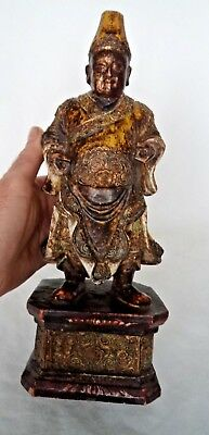 19Th Century Chinese Gilt Carved Wooden Figure Idol / God - Buddah?
