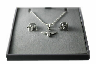 925 Sterling Silver Lovely Bumble Bees Earrings and Necklace Jewelry Set