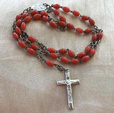 Vintage Retro 1950s Mid Century Red Celluloid Wired Rosary Beads Crucifix Cross
