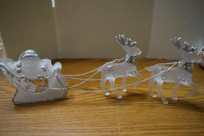 """Frosted Plastic Santa, Sleigh & 2 Riendeer 15"""" Long X 5"""" High X 2.25"""" Wide"""