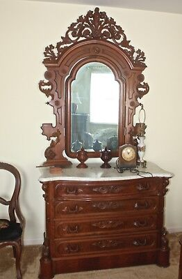 American Rococo Revival Carved Walnut Bed & Dresser ca.1870