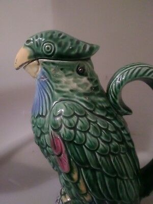 "c19th Victorian Antique MAJOLICA POTTERY PARROT Jug Pitcher 10""  Good Condition"